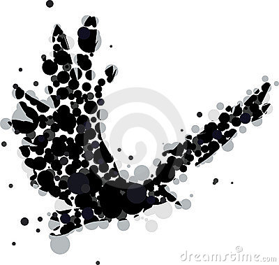 Abstract crow or raven in flig