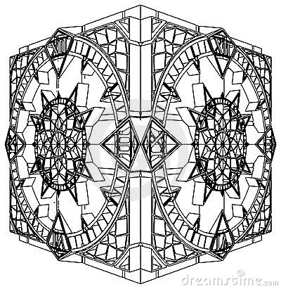 Abstract Cube Gothic Clock Watch Vector 02