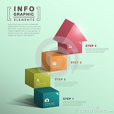 Free Abstract Cube Stair With House Infographics Royalty Free Stock Photos - 36789438