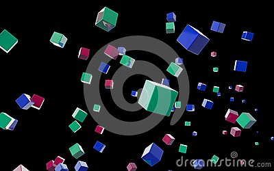 Abstract cubes in flight