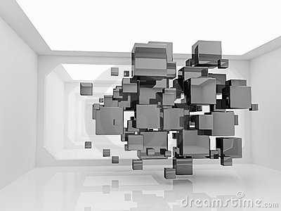 Abstract cubes in futuristic room