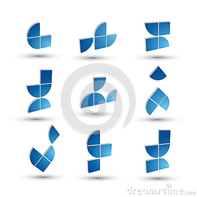 Abstract 3d geometric simple symbols set, vector abstract icons.