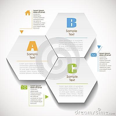 Abstract 3d hexagonal paper infographic