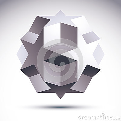 Abstract 3D origami polygonal object, vector geometric design el