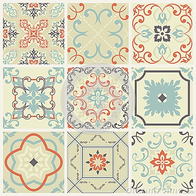 Abstract damask patterns set of nine seamless in retro style for design use. Vector illustration. Vector Illustration