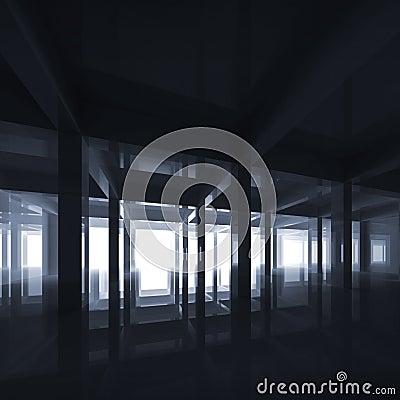 Abstract deep blue modern interior