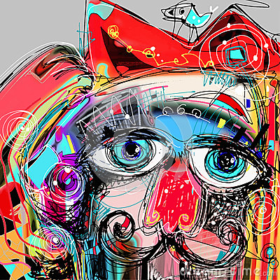 Free Abstract Digital Artwork Painting Portrait Of Cat Stock Photos - 54606353