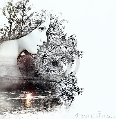 Free Abstract Double Exposure Of Woman And Nature At The Sunset On Th Stock Images - 52727434