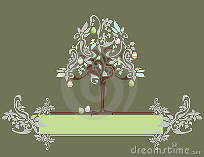 Abstract Easter egg tree banner