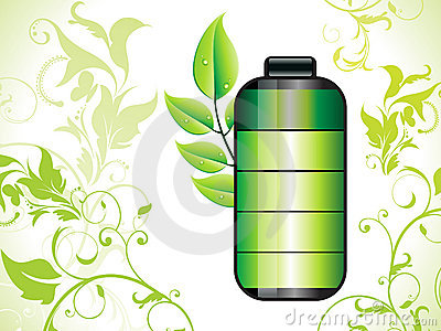 Abstract eco green battery background