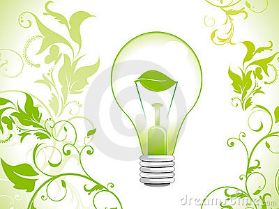Abstract eco green bulb background