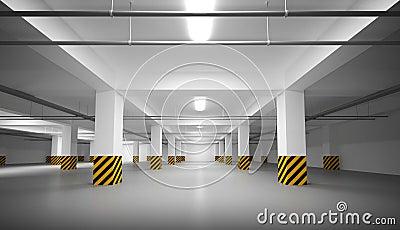 Empty white underground parking interior