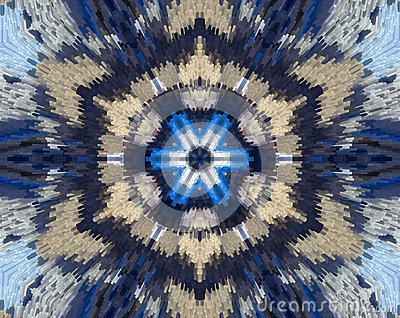 Abstract extruded mandala with blue, brown, white Stock Photo
