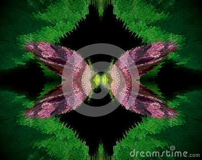 Abstract extruded mandala purple flower Stock Photo