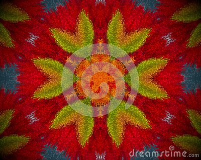 Abstract extruded mandala with red, orange, blue and green color Stock Photo