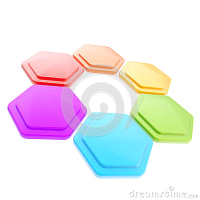 Abstract figure of six hexagon plates