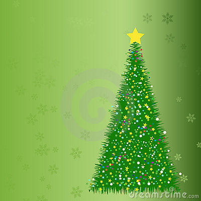Abstract fir tree from stars