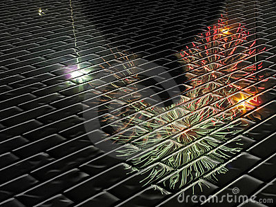 Abstract firework silhouette reflection