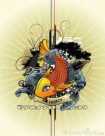 Abstract fish vector composition