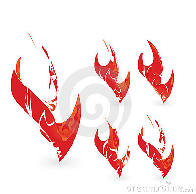 Abstract flame graphic design element set