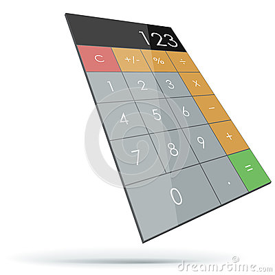 Abstract flat 3D calculator