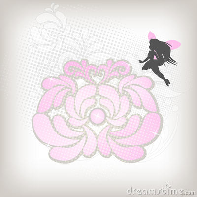 Abstract floral background with fairy