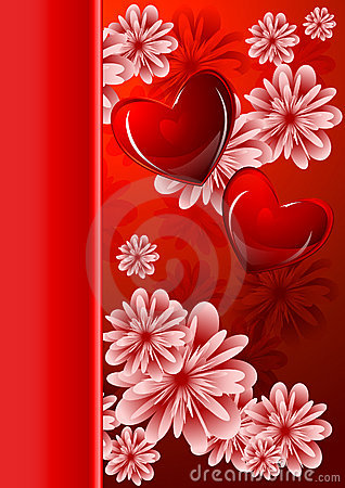 Abstract floral background with glossy red hearts