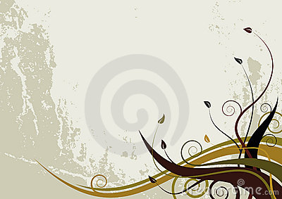 Abstract floral background - grunge style waves