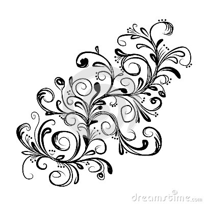 Abstract floral branch, sketch for your design