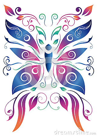 Abstract floral butterfly - vector design
