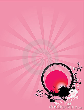 Abstract floral circle pink background 1