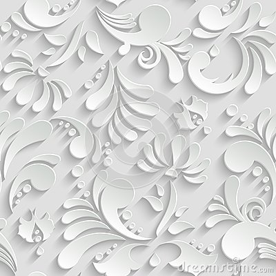 Abstract Floral 3d Seamless Pattern Vector Illustration