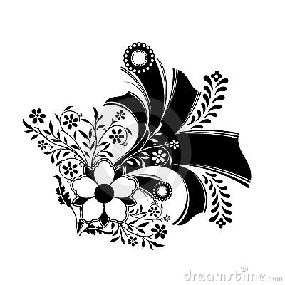 Abstract floral decoration artwork in black color, vector illust