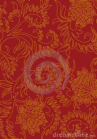 Abstract floral decorative background on red color, vector illus