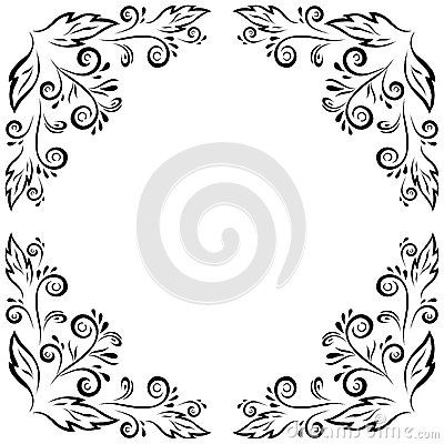 Abstract floral frame, black contour
