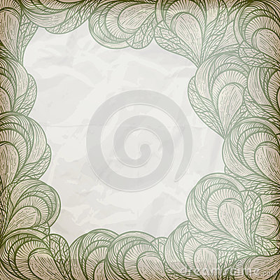abstract floral frame on crumpled paper