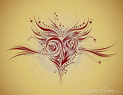 Abstract floral heart shape - grunge style