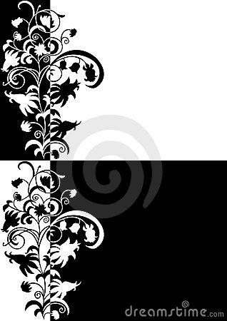 Abstract floral ornament in black and white colors