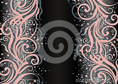 Abstract floral ornament on dark background