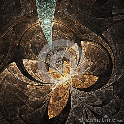 Free Abstract Floral Ornament On Black Background. Royalty Free Stock Photography - 64697127