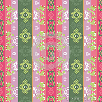 Abstract floral ornament seamless geometrical pattern on colorfu