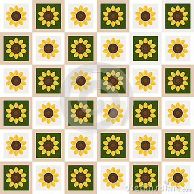 Abstract Floral Pattern Background With Colorful Squares And Sunflowers Vector Illustration