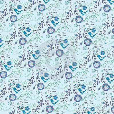 Abstract floral pattern with bird