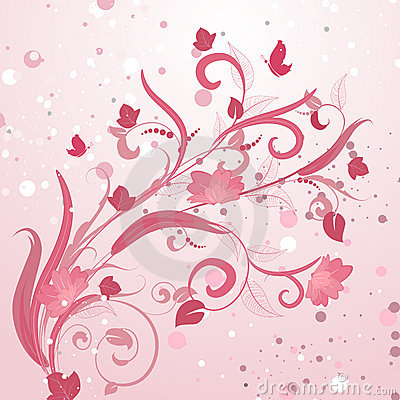 Abstract floral pattern pink