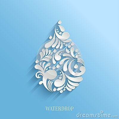 Free Abstract Floral Water Drop On Blue Background. Royalty Free Stock Photography - 46101817