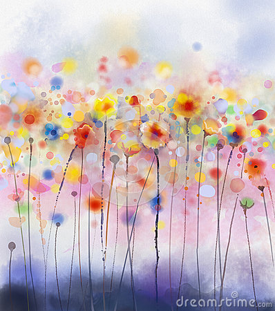 Free Abstract Floral Watercolor Painting Stock Photo - 56968610