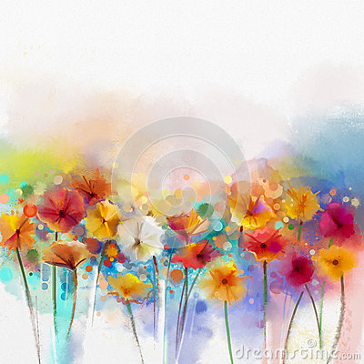 Free Abstract Floral Watercolor Painting. Hand Paint White, Yellow, Pink And Red Color Of Daisy- Gerbera Flowers Stock Photo - 61726130