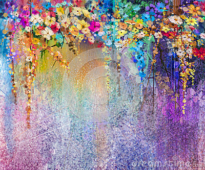 Abstract floral watercolor painting Stock Photo