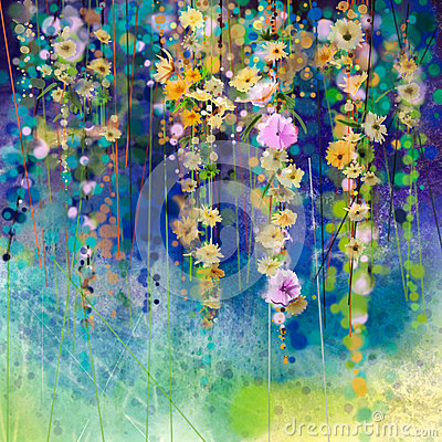 Abstract floral watercolor painting. Spring flower seasonal nature background Stock Photo