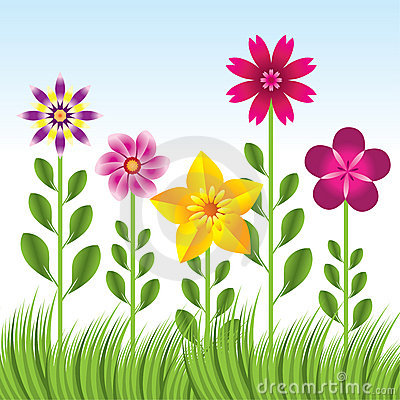 Abstract flower background with grass - illu